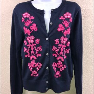 🌸J. CREW Jackie cardigan sweater Pink embroidered
